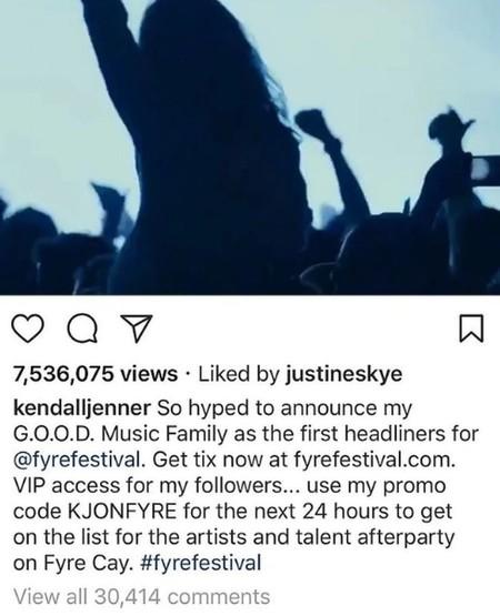 Post borrado de Kendall Jenner promocionando el Fyre Fest