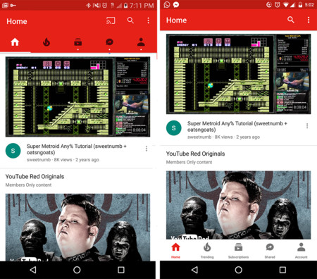 Youtube Nueva Interfaz Android