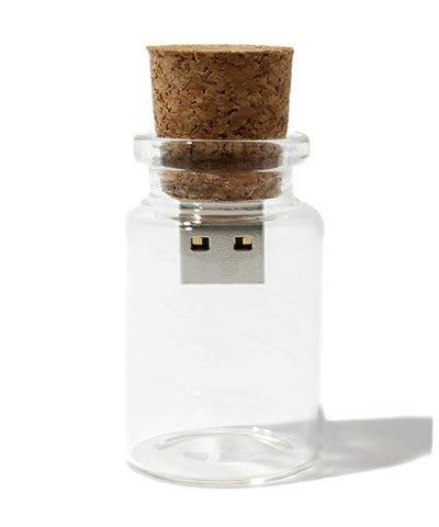 Memoria USB en una botella