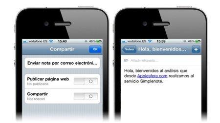 Simplenote aplicación para iOS