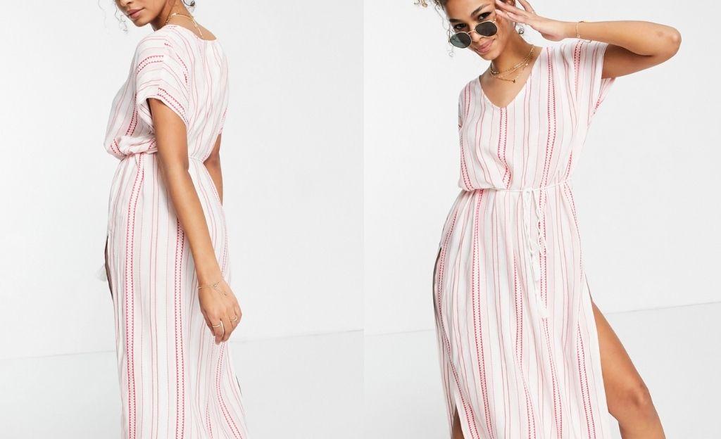 Vestido midi amplio a rayas rosas con lazada en la cintura de En Crème