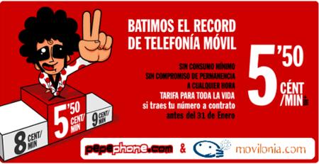 Pepephone vuelve a ofrecer su tarifa de 5.5 céntimos/minuto