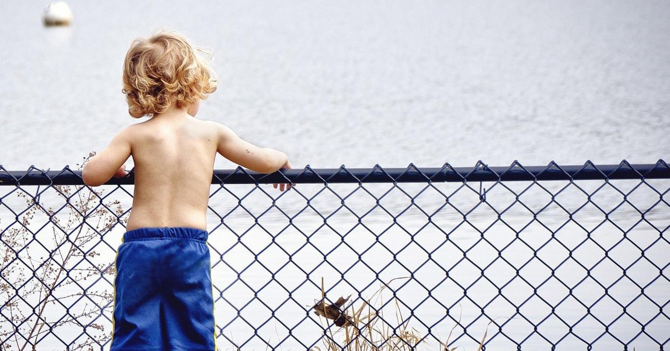 Boy Kid Young Water Watching Serious Cute Joy