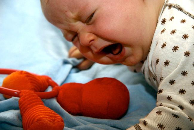 Bebé llorando por torniquete de pelo o hilos