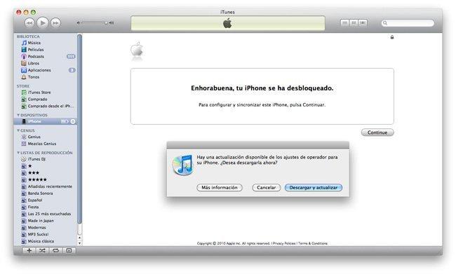 iPhone iTunes Movistar contrato liberar