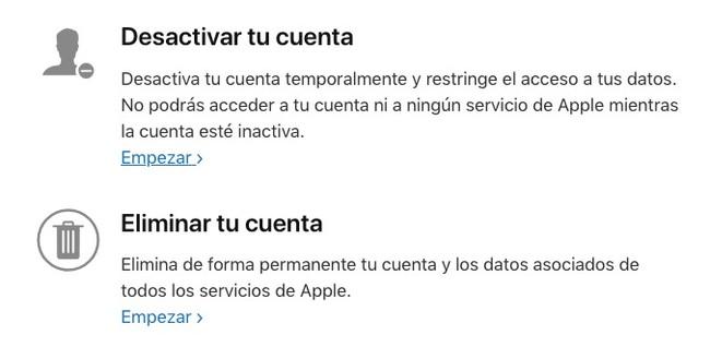 Apple Eliminar Cuenta