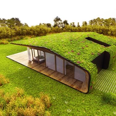 Una vivienda que se camufla en la naturaleza al doblarse sobre sí misma para ajardinar su cubierta