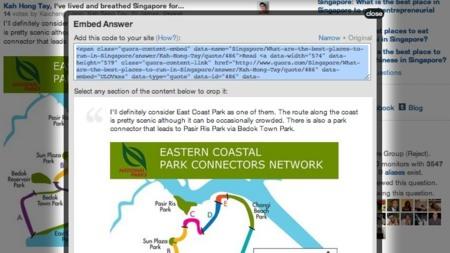Quora permite incrustar respuestas en cualquier sitio web mediante un código