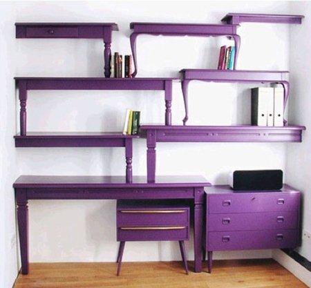 Recicladecoración: estanterías de pared a partir de viejas mesas