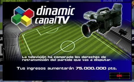 PC Fútbol 5.0 Notificación del pago por la retransmisión del partido