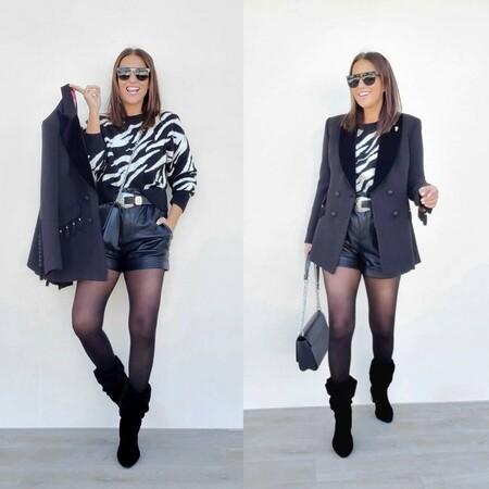 Paula Echevarría sigue exprimiendo el pantalón corto de polipiel: lo combina con un jersey animal print de Mango y unas botas altas
