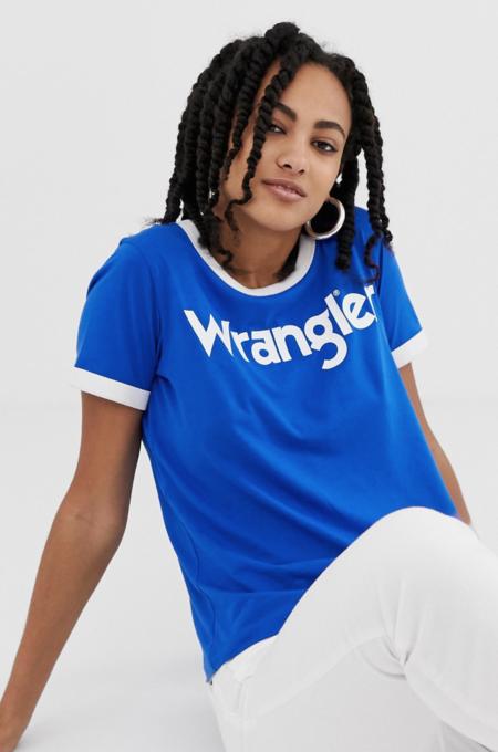 Camiseta con ribetes en contraste y logo en la parte delantera de Wrangler