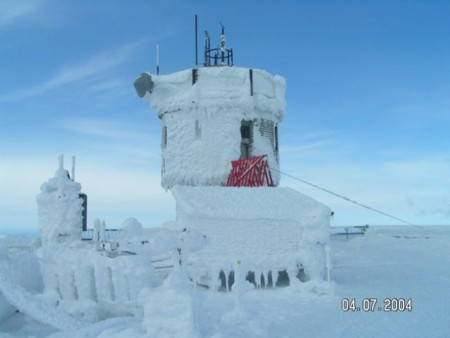 Observatory Tower In Rime With Blue Sky