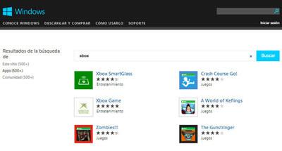 Microsoft incluye la búsqueda de aplicaciones de Windows 8 en su web