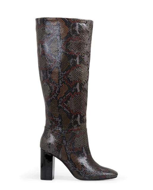 Botas altas en gris con print serpiente