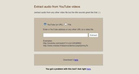 Vmeste, extrayendo el audio de cualquier vídeo