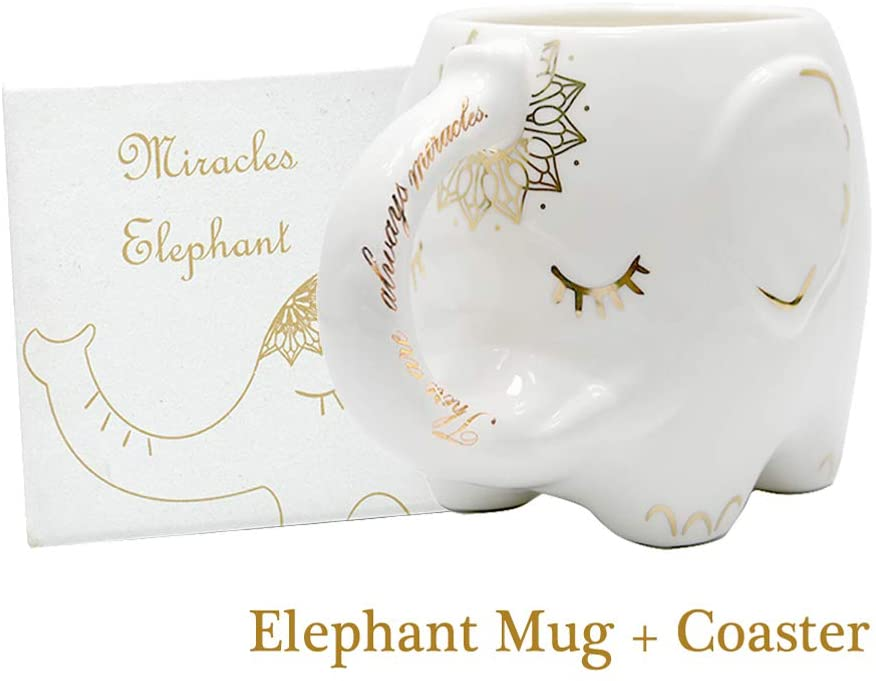Taza de elefante de cerámica hecha a mano