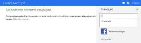 Messenger Metro UI buscando contactos