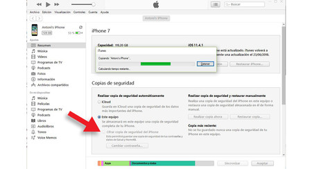 itunes COPIA DE SEGURIDAD NO CIFRADA