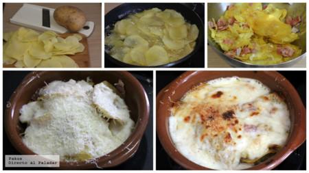 Patatas Asadas Bechamel Horno Pasos