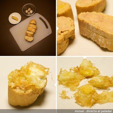 montadito de foie y huevo - elaboración