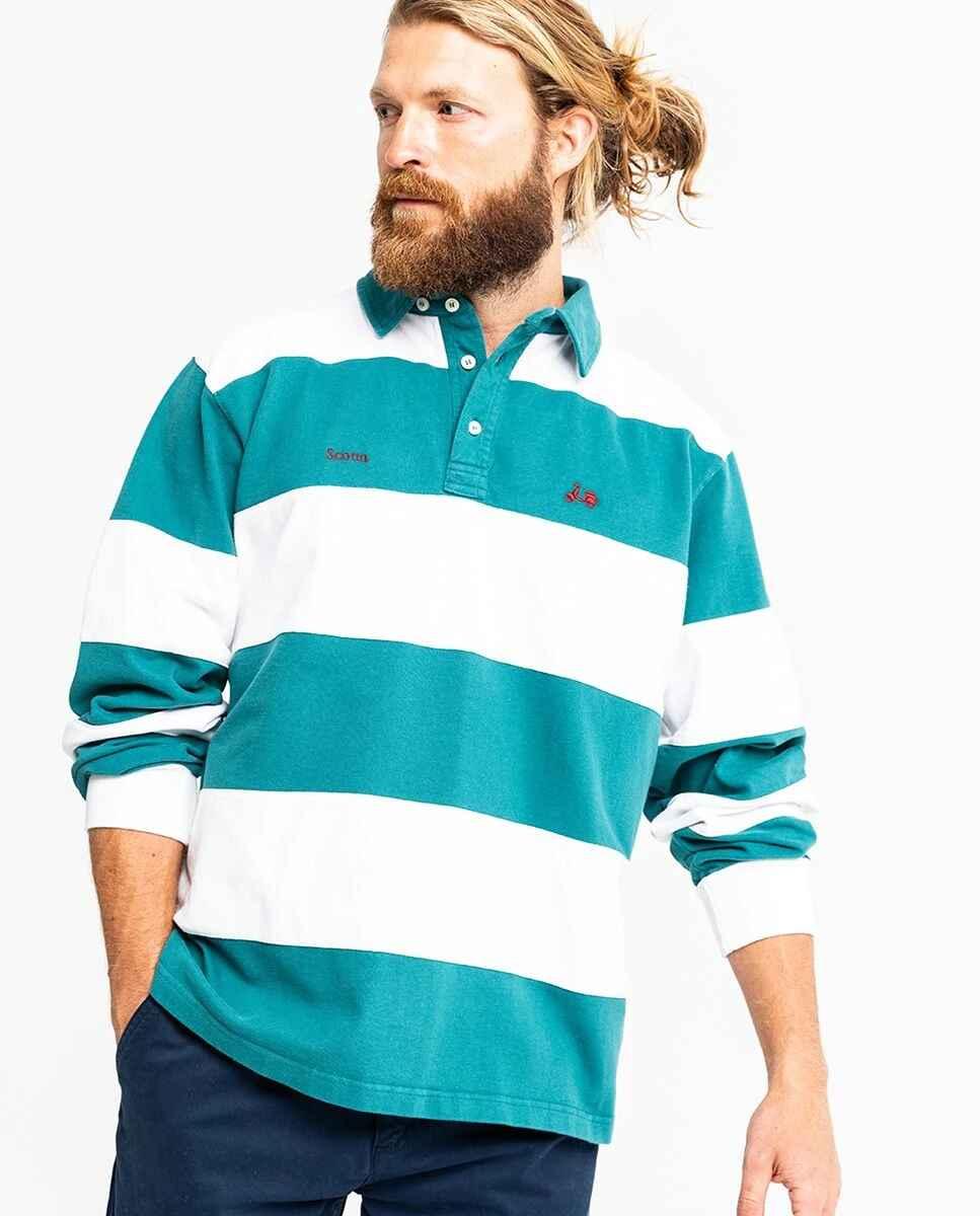 Polo de algodón de hombre de rayas en color verde de manga larga de Scotta 1985
