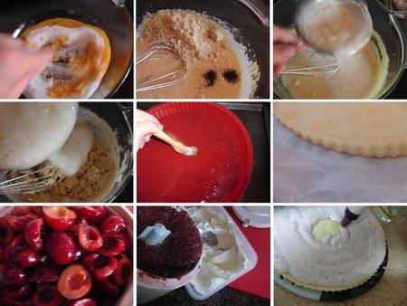 Preparación del pastel de cerezas