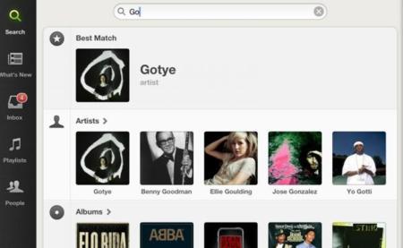 Buscador de Spotify para iPad