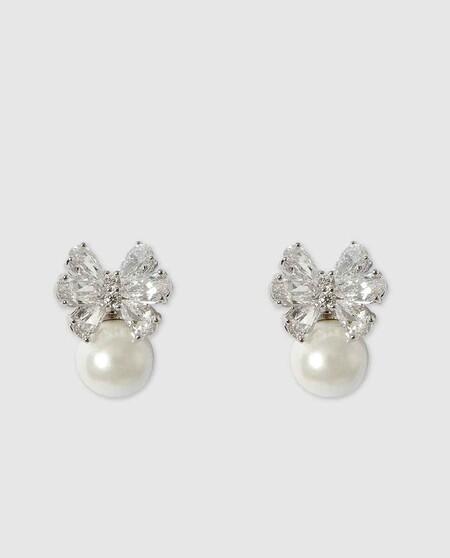 Pendientes Dada Burma con perla blanca