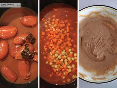 guiso de garbanzos con salsa de cacahuate