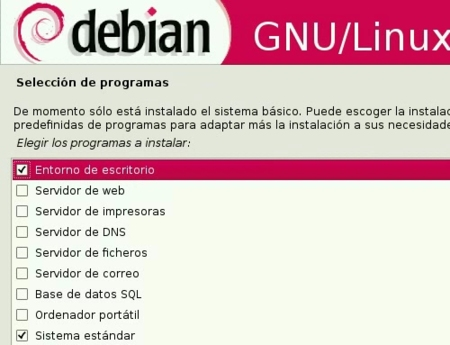 Debian GNU/Linux 5.0 Lenny - Selección de programas