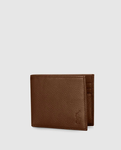 Cartera de hombre Polo Ralph Lauren de piel granulada en marrón
