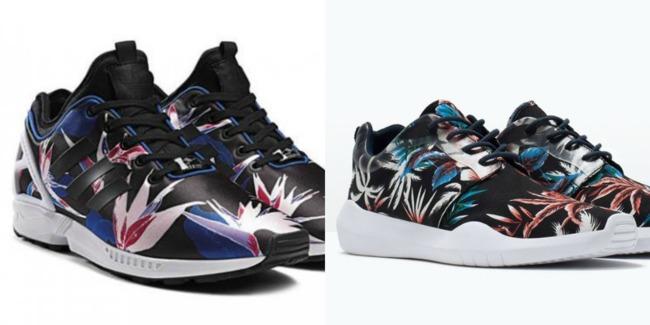 A la izquierda tenéis el modelo original de Adidas (100 euros) y a la derecha el de Zara (39,95 euros). Como podéis ver, los de Zara se han dejado inspirar