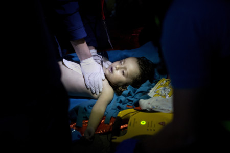 Doctors And Paramedics Try To Resuscitate A Baby After A Boat With Refugees And Migrants Sank While Attempting To Reach The Greek Island Of Lesbos From Turkey On 28 October 2015 At Least Five People Including Three Children D