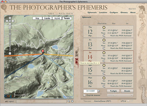 Programa tus fotos de paisaje con The Photographer's Ephemeris