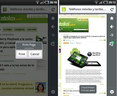 Cómo imprimir desde cualquier web con Firefox Mobile para Android