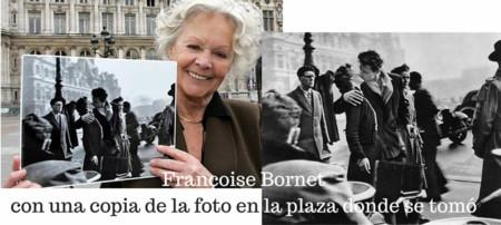 Francoise Bornetcon Una Copia De La Foto En La Plaza Donde Se Tomo