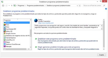 establecer programas predeterminados en Windows 8