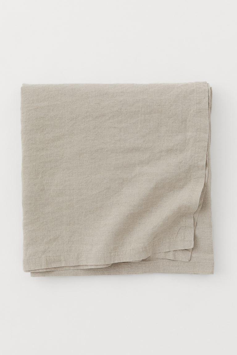 Mantel grande en lino lavado con costura doble
