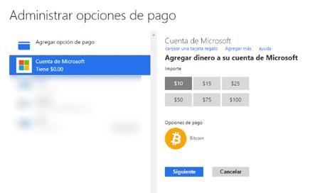 Microsoft ahora permite usar Bitcoins para comprar aplicaciones, juegos, música, y más
