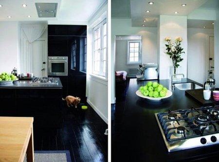 suelo negro - cocina y comedor