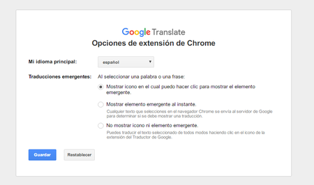 Opciones De La Extension Del Traductor De Google