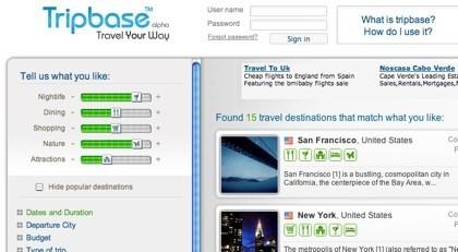 Tripbase, buscador-selector de viajes