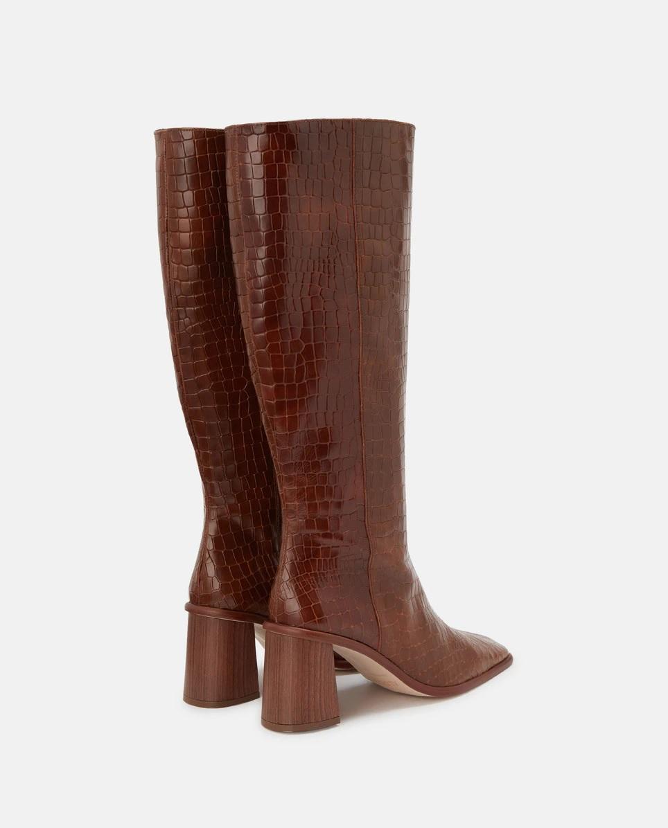 Botas altas de piel con efecto coco y tacón de madera