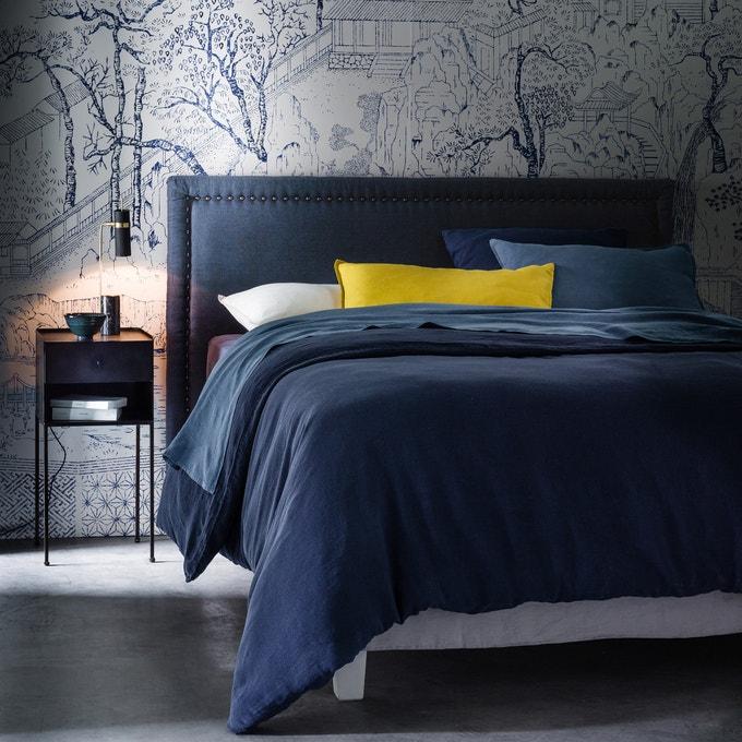 Cabecero de cama de lino lavado