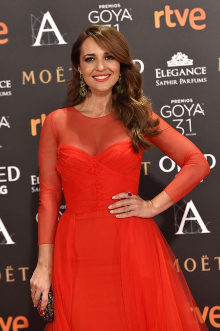 Paula Echevarría es la más romántica de la noche gracias a este vestido de tul rojo