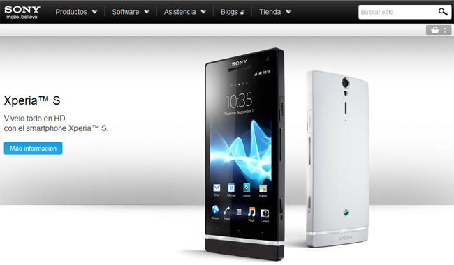 web de Sony Mobile