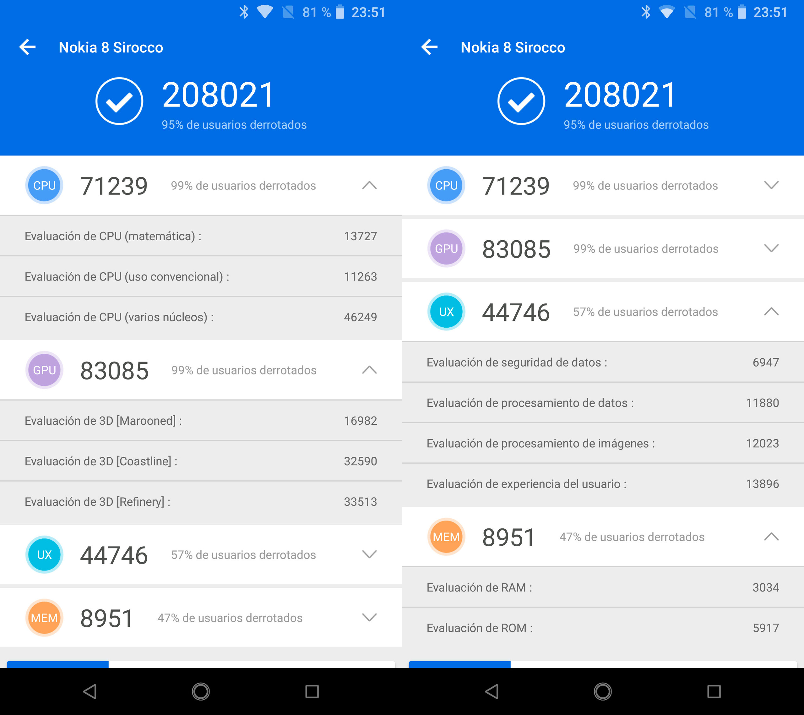 Nokia 8 Sirocco, benchmarks