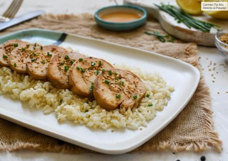 pechuga de pollo con soja, miel y limón