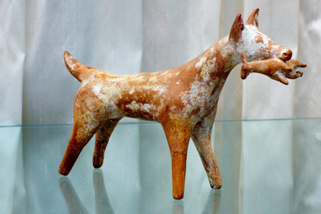 Greek Terracotta Statue Dog With Pray Staatliche Antikensammlungen Sl 120